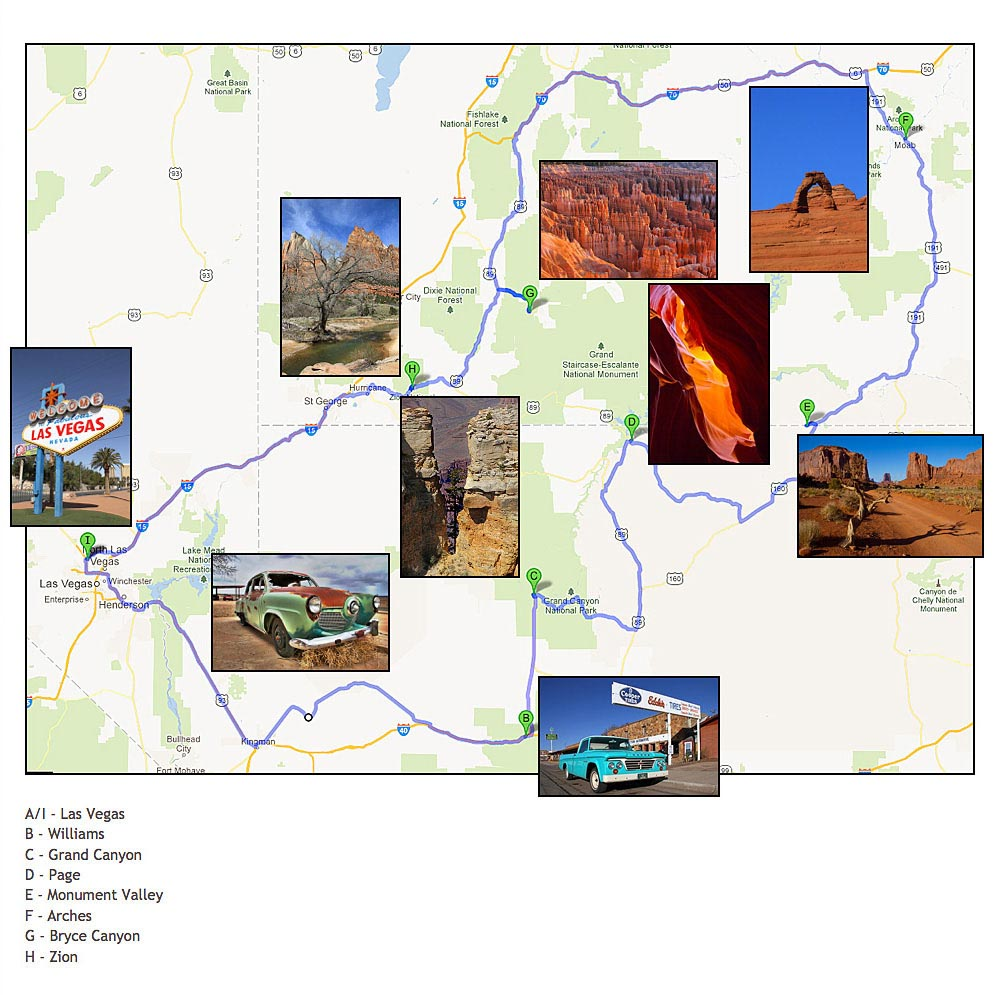 Check Out The Route Map Below To See The Main Sites Visited On Your 1000 Mile Tour